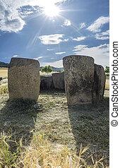 extremadura., entrada, sol, atrás, descendente, dolmen,...