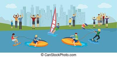 extremal, mężczyźni, kobiety, współzawodnictwo, woda zabawa, różny, rodzaje, kitesurfing, fans., atleci, wakeboarding., wektor, illustration., windsurfing
