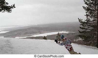 Extreme Activity - Snowboarders enjoying their extreme...