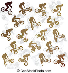 Extreme bicycle riders vector background illustration...