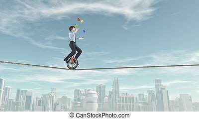 Extreme business man riding unicycle on a rope and juggling...
