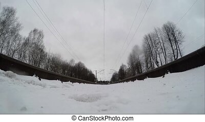 Extreme camera is mounted under the train on the rails....