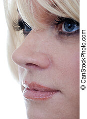 blond woman with blue eyes