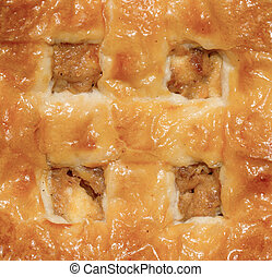 Extreme close-up of a apple pie