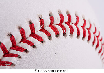 extreme close-up of a brand new baseball
