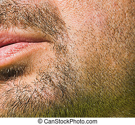 close up of a man beard