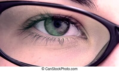 Extreme close up of an eye through