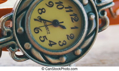 Extreme Close Up of Beautiful Woman's Watch. Second Hand Dial