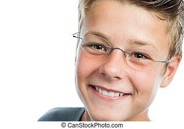 Extreme close up of boy with eye wear. - Extreme close up...