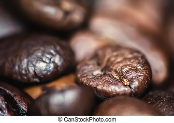 Extreme close up of coffee beans. Selective focus