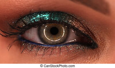 Extreme close up of human eye iris. Female with beautiful makeup, glitter shadows. Womens green eye contracting. Beauty, cosmetics, feminine concept. 4k