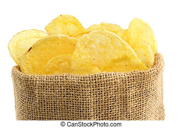 extreme close up of potato crisps in a jute bag