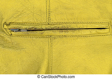 Extreme close up shot of hand bag zipper