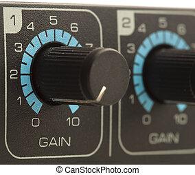 gain volume fader - extreme closeup of a gain volume fader