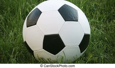 Extreme Closeup of Football Resting in the Grass