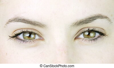 Extreme Closeup of green eyes - Sad expression of big eyes