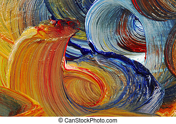Extreme closeup of strokes of the brush - run colors - craftsmanship