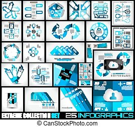 Extreme Collection of 25 quality Infographics background.
