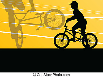 Extreme cyclist active sport silhouettes vector background