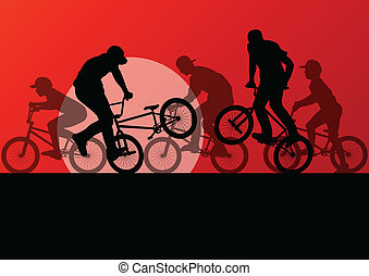 Extreme cyclist young active sport silhouettes vector background illustration