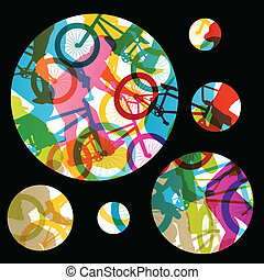 Extreme cyclists bicycle riders active children sport silhouettes vector abstract background illustration