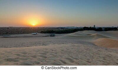 Extreme desert landscape timelapse with orange sunset,...