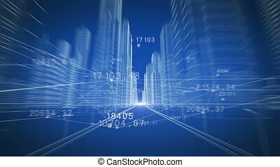 Extreme Fast Flight Through Modern City Digital 3d Blueprint with Network Numbers. Running to the Light. Construction and Technology Concept. Blue Color 3d Animation. 4k UHD