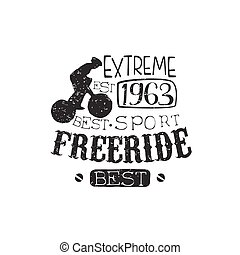Extreme Freeride Vintage Label With Rider Silhouette
