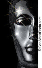 extreme glossy glass head - translucent reflective human...
