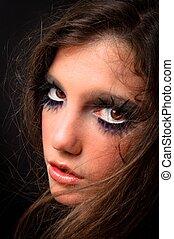 Extreme makeup on a fashion model