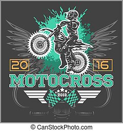 Extreme motocross. Emblem, t-shirt design on dark background.