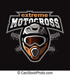 Extreme motocross logo, on a dark background.