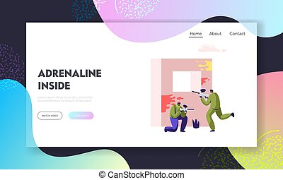 Extreme Paintball Battle. Players in Protective Uniform and Mask Aiming and Shooting with Gun from Embrasure, Adrenaline Sport Website Landing Page, Web Page. Cartoon Flat Vector Illustration, Banner