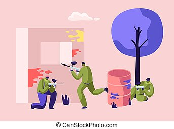 Extreme Paintball Battle. Players in Protective Uniform and Mask Aiming and Shooting with Gun from Embrasure, and Metal Barrel, Adrenaline Sport Tournament, War Fight Cartoon Flat Vector Illustration