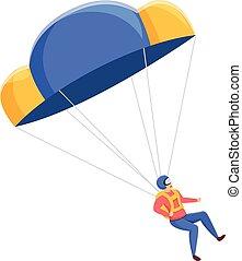 Extreme parachuter icon, cartoon style