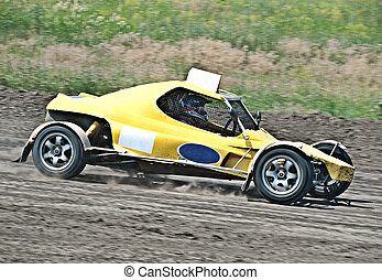 extreme offroad motor car on the track