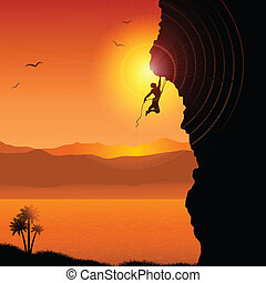 Extreme rock climber - Silhouette of an extreme rock climber...