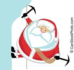 Cartoon Santa climbing. Separate layers