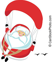 Extreme Santa - Cartoon Santa paragliding. Separate layers