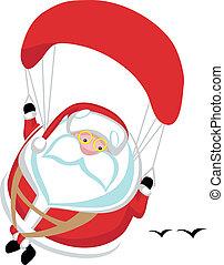 Cartoon Santa paragliding. Separate layers