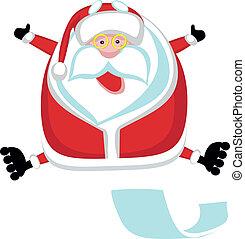 Cartoon Santa roller. Separate layers