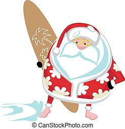 Cartoon Santa surfer. Separate layers