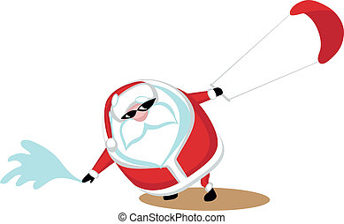 Extreme Santa - Cartoon  Santa surfkiting.Separate layers