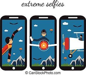 extreme selfie flat design illustration