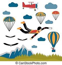 extreme selfie parachutist flat design illustration