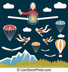 extreme selfie pilot flat design illustration