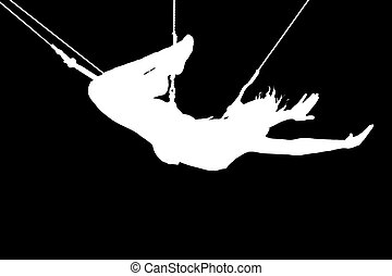 Extreme - Silhouette of young women on trapeze, black...