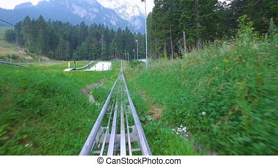 Extreme sport activity with bobsled in nature