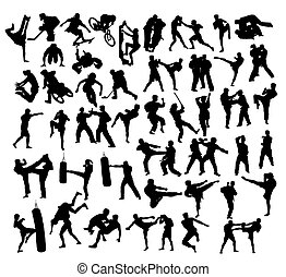 Extreme Sport and Martial Art Silhouettes