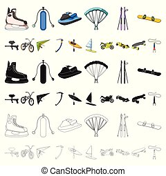 Extreme sport cartoon icons in set collection for design. Different kinds of sports vector symbol stock illustration.